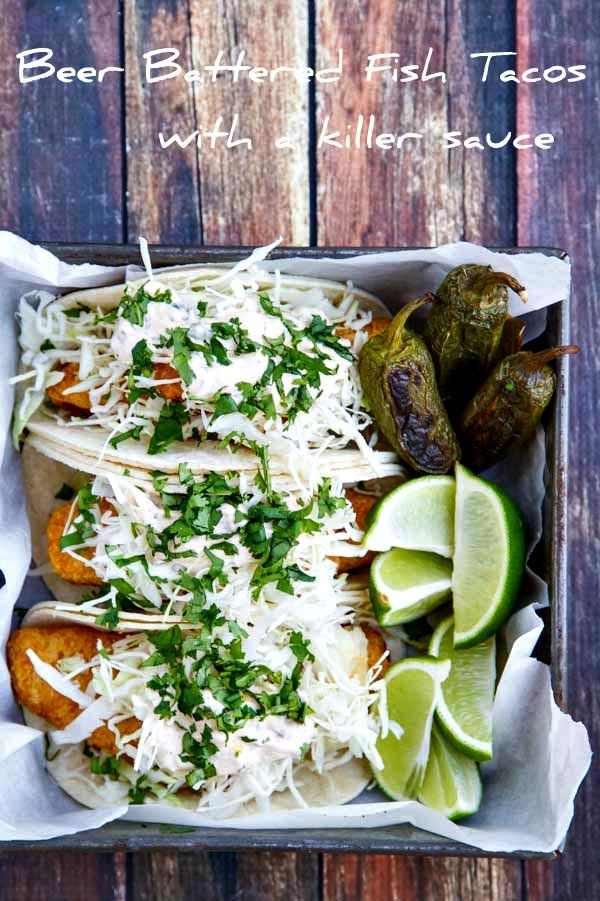 These Beer Battered Fish Tacos are light and crispy with a killer sauce that brings all the flavors together!