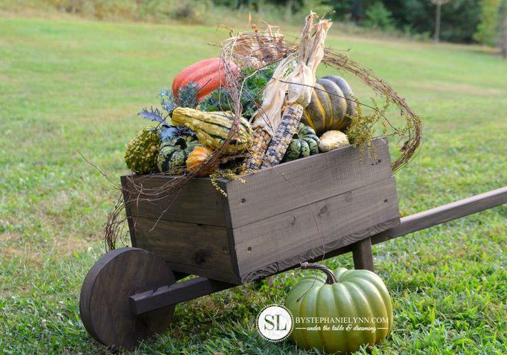 How to Make a Wooden Wheelbarrow Planter   fall wheelbarrow outdoor pumpkin display