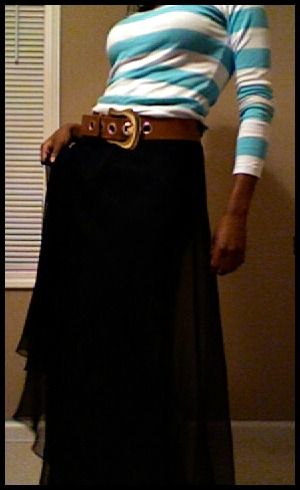 black+maxi+skirt+outfits | ... : Blue stripes, Black chiffon maxi skirt (Outfit of the day