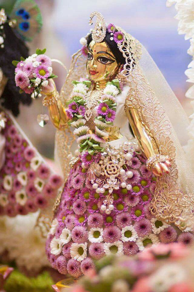 Radharani adorned with flowers