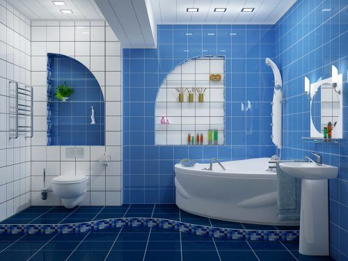Picture of White and Blue Bathroom Ideas with Tiles