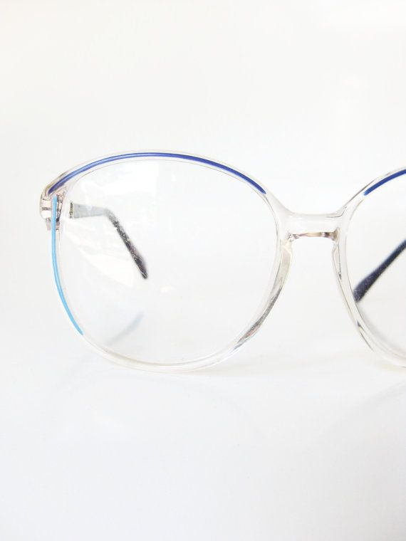 Blue Glasses Frames 1980s Sea Cerulean Turquoise Girls Womens Clear 80s Ladies Eighties Transparent Sapphire Navy Eyeglasses Optical