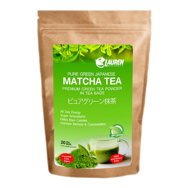 Matcha Green Tea Powder in Tea bags Sample, Weight Loss Tea For Liver Detox and Skin Detox -- Made From Organic Herbal Green Tea (Instant $3.99 CREDIT with purchase on select Lauren Natural products)