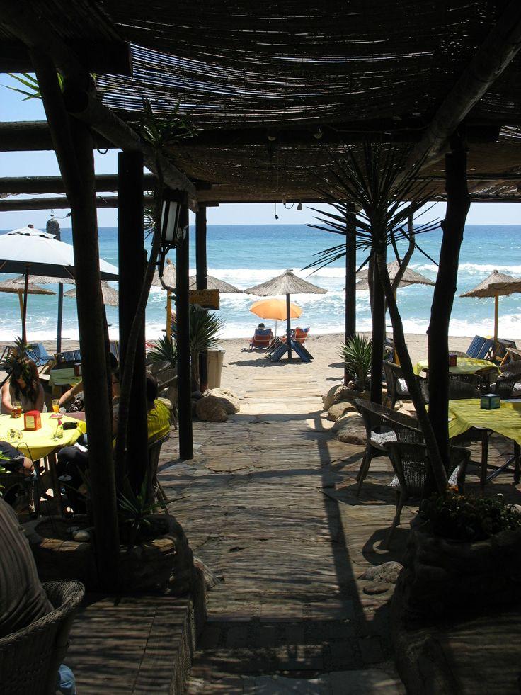 Blick zum Mittelmeerstrand. El Patio 2000. Mojacar Playa