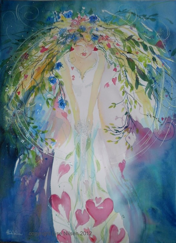 Her, collecting hearts 76x56cm watercolor on Sauners Waterford 300g Lise Nilsen