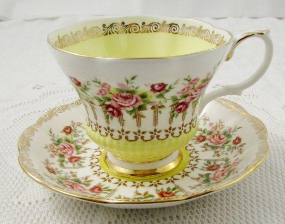 Royal Albert Yellow Tea Cup and Saucer Green Park Series, Vintage Bone China