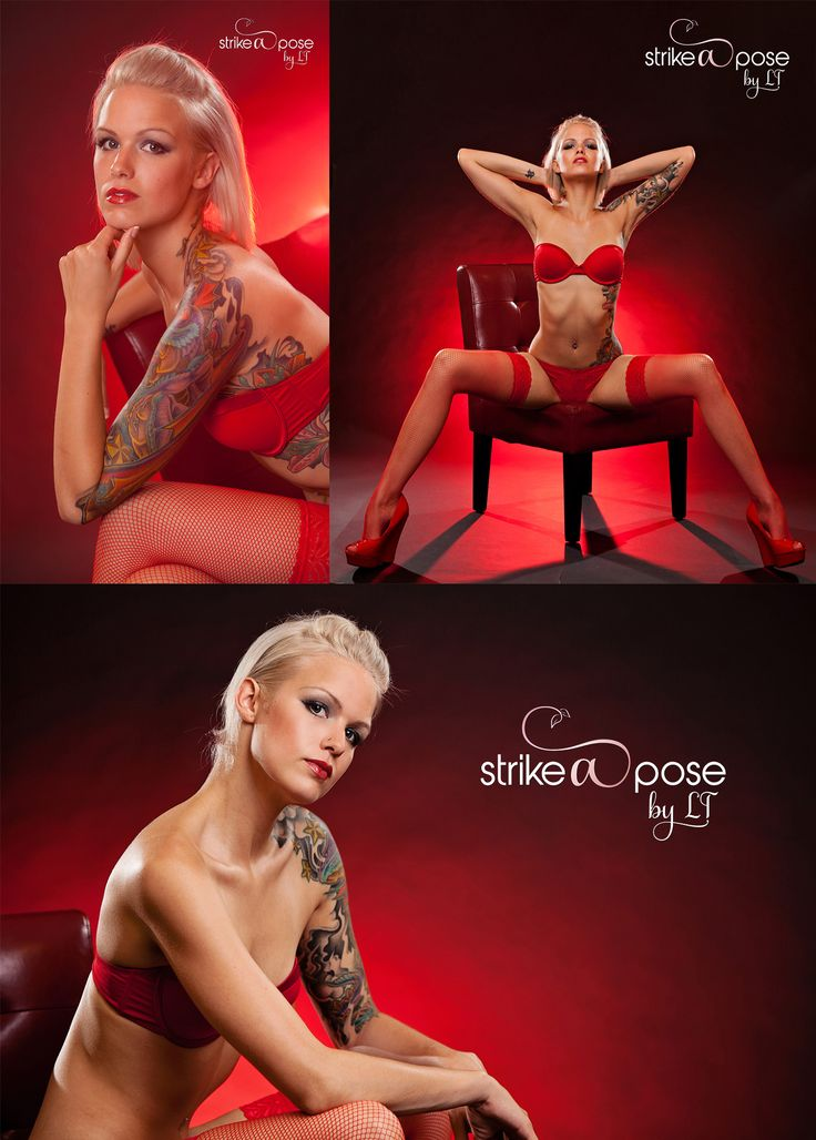 Red, Tattoo, glamour session