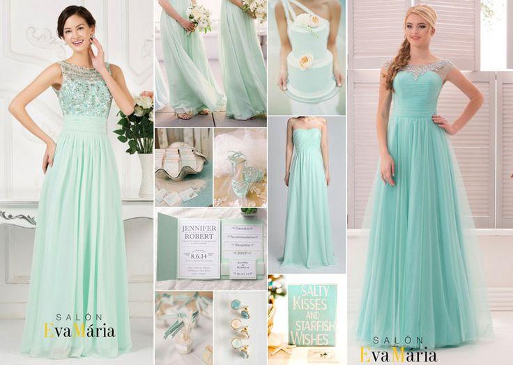 Mentolové popolnočné šaty, družičkovské šaty