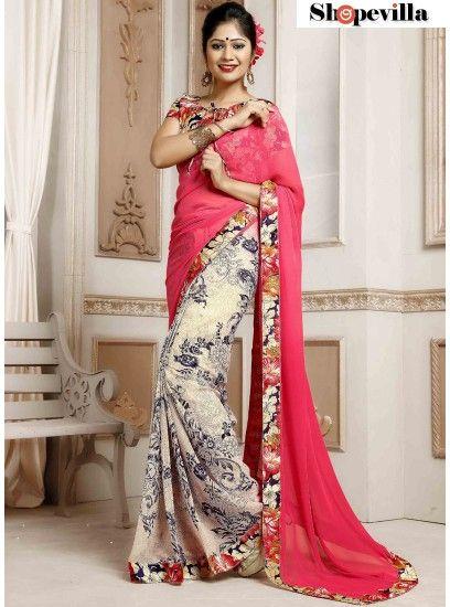 Pink Weightless Spray Print Designer Saree-TM-237
