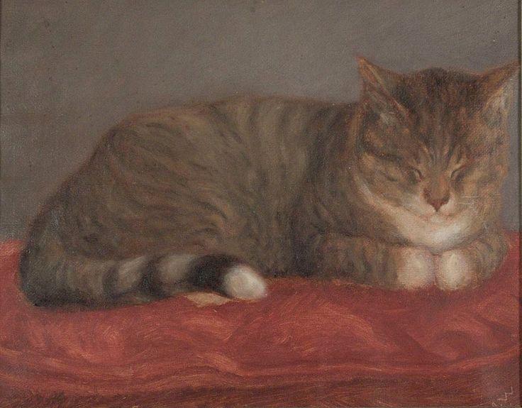 Maria Wiik (Finnish, 1853-1928) Makaava kissa, Mosse - Lying cat, Mosse 1870 - Finland ... from kokoelmat.fng.fi