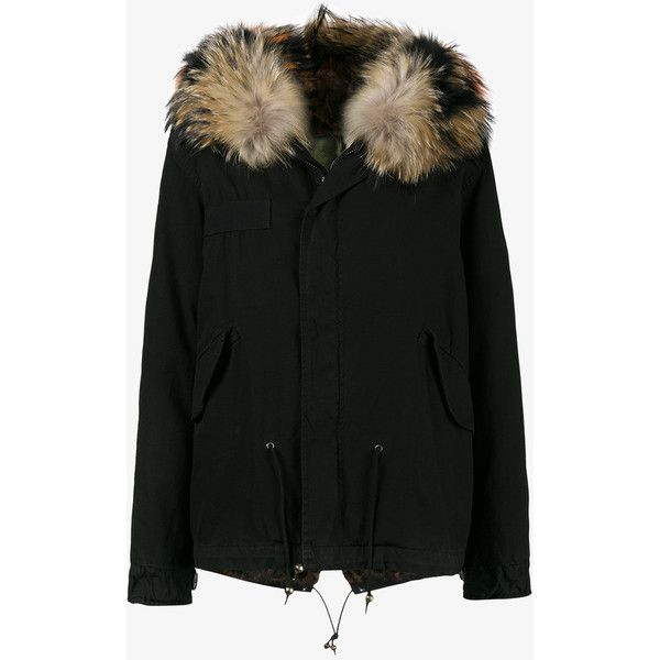 Mr & Mrs Italy Mini Black Parka With Fur Hood (373,635 PHP) ❤ liked on Polyvore featuring outerwear, coats, black, parka coat, fur hood parka and fur hood coat