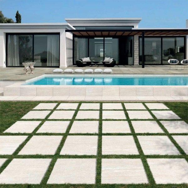 Pool Deck Featuring Vesuvius White Italian Porcelain