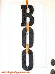 Front Door Decorations for Halloween // BOO Sign