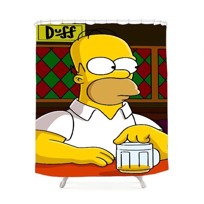 Homer Simpson Cartoon Shower Curtain Simpsons cartoon