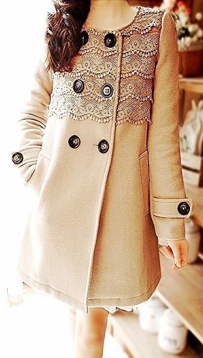 Beige lace button-up coat!