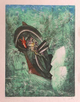 """Matta""""Hom'mère III. L'Ergonaute: """"L'ergofrage. (Naufrage du Titanic)"""""""", 1977. Aguafuerte y aguatinta sobre Cobre de 49,5 x 37,5 cm., Papel Japón nacarado (suit) de 250 gr. de  medidas 67 x 51,5 cm. Ej.: 100 + XXV HC (Arches) / suite 100 + 10 EA + XXV HC #art #etching"""