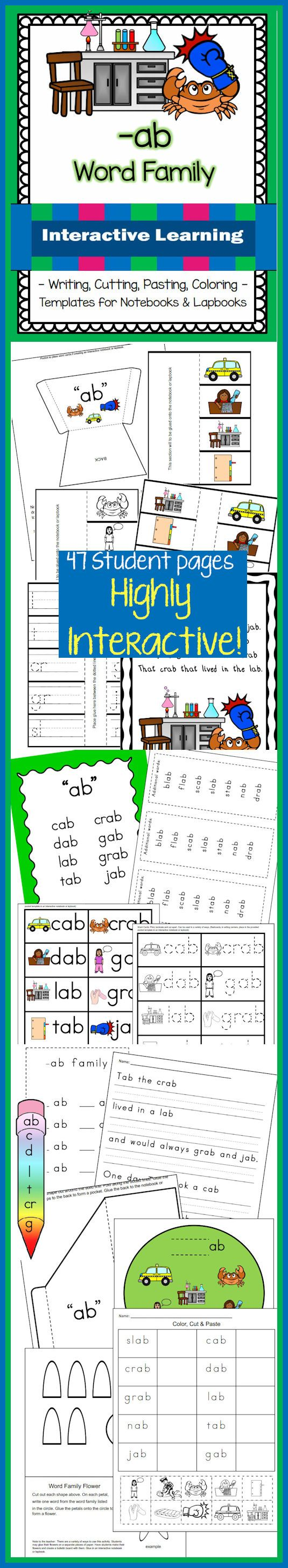 CAUTION: Fun, interactive learning contained within this unit with 47 student pages for students to color, cut, paste, and write!  Topic: -ab Word Family Contains: Flashcards Puzzle Cards Templates for interactive notebooks, lapbooking and/or center activities Worksheets for matching, writing, cut and glue Mini-Book PLUS a template for students to create the own Posters