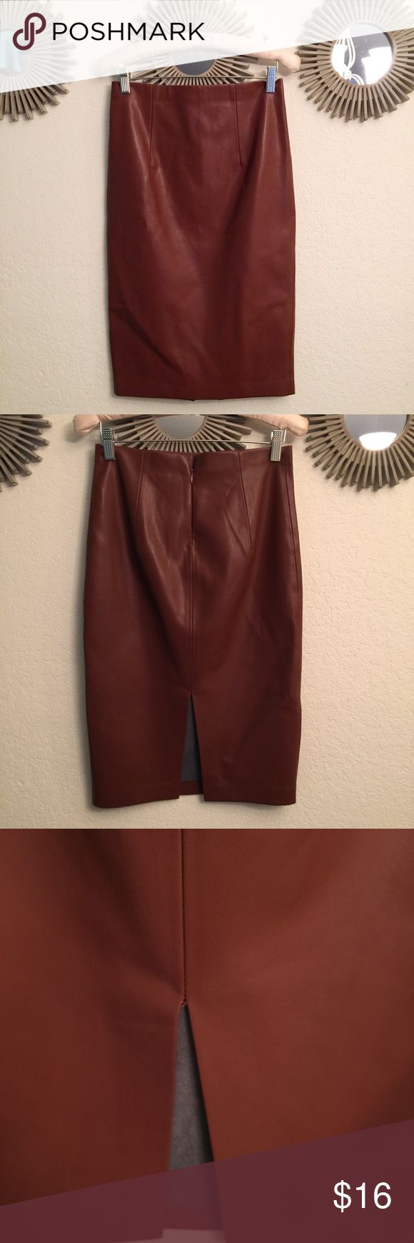 💗Faux leather pencil skirt. Buttery soft Super soft faux leather brown pencil skirt. Worn 2-3 times. Like new condition. Super cute with a cream blouse and heels. From forever 21 contemporary line Forever 21 Skirts Pencil