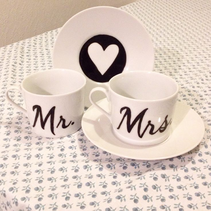 Hand decorated Mr & Mrs matching teacup set