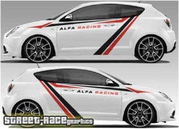 Alfa Romeo diagonal racing stripe graphics