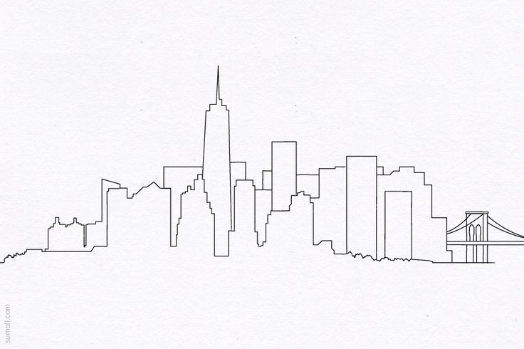 Line Art City : New york city skyline manhattan brooklyn bridge wtc