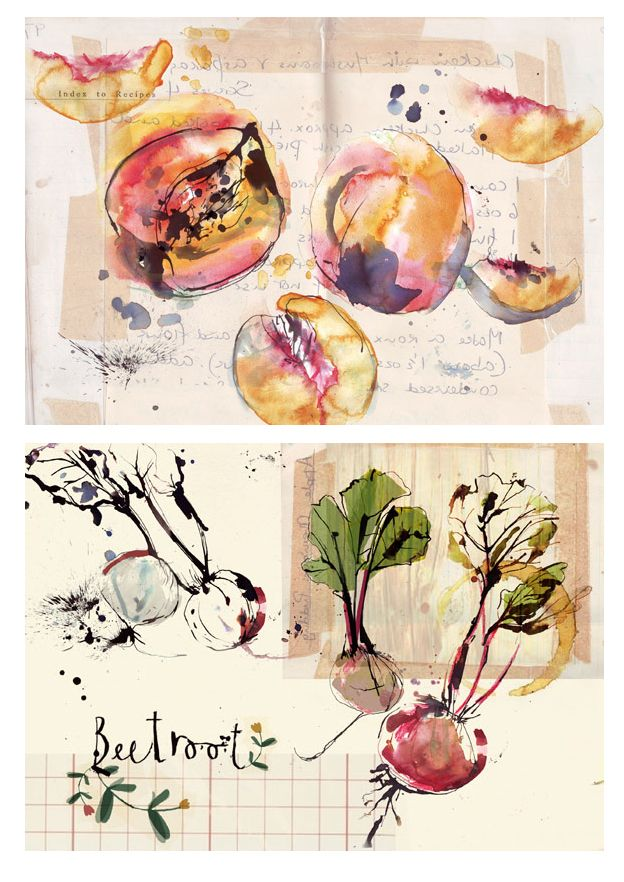 Clair Rossiter, cooking, illustration, beetroot, splatter, organic, drawing, ink, watercolour, sketchbook