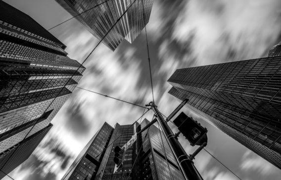 Wolkenkrabbers, zwart/wit