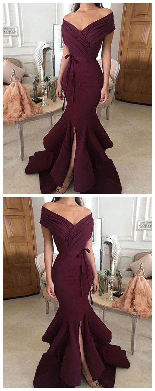 Simple off shoulder long prom dress, evening dress Prom Gowns, Formal Women Dress P0605 #promdresses #longpromdresses #2018promdresses #2018newstyles #fashions #styles #hiprom #mermaid #burgundyprom #slitprom #offtheshoulder