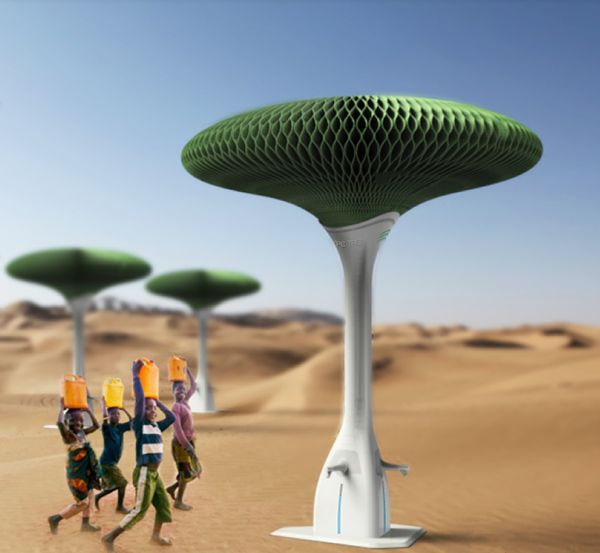 The Hope Tree is a large tree-shaped device that absorbs moisture from the air to supply drinking water.