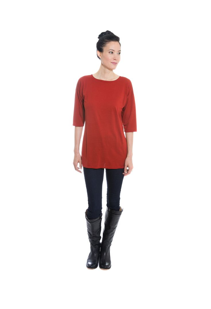 Red Merino Wool jersey tunic with 3/4 length sleeves by Jennifer Fukushima.  Boots by Frye.