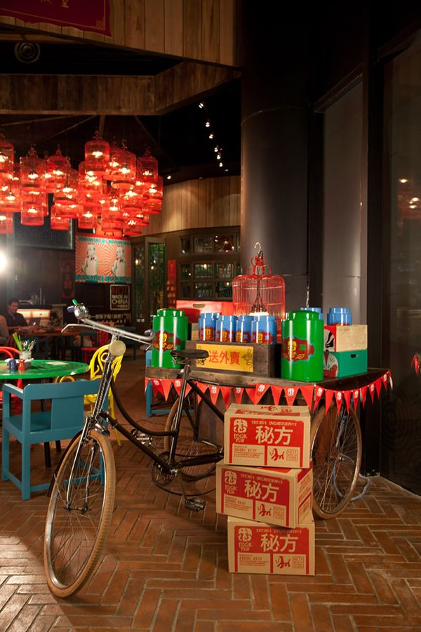This Chinese restaurant doesn't not only have a young interior design style but also a cheeky name. Fook Yew is a vibrant, colourful and funky Chinese