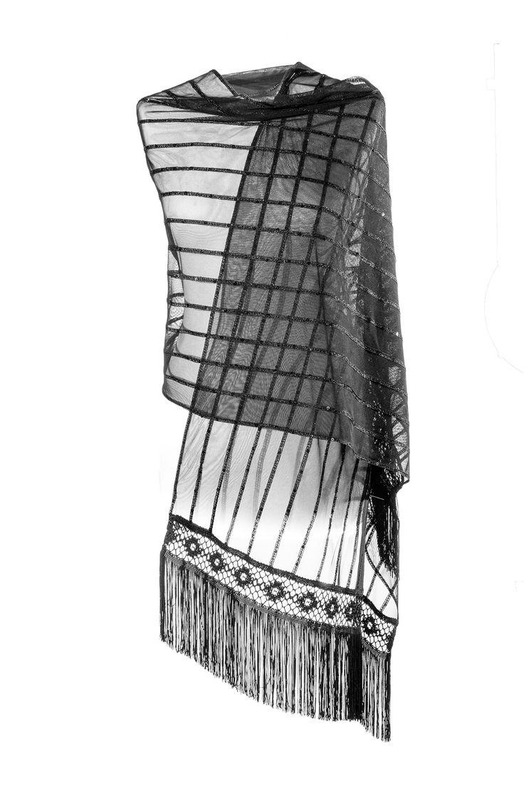 ART DECO'  - Sciarpa in pizzo-tulle nero gessato da righe in tinta ricamate su tutta la lunghezza. Frangia in seta dal disegno elaborato  ed applicazioni di micropaillettes. www.blomming.com/mm/AltaModaDonna/items/art-dec%C3%B2-sciarpa