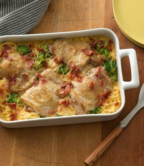 Looking for a new way to do chicken and noodles? Just add broccoli, bacon and a can of cream of chicken soup, and you've got a savory smothered casserole at the ready! If you've got extra boneless, skinless chicken breasts in the fridge, use those instead of buying thighs.