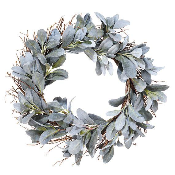 Faux Lambs Ear Wreath, Large - Silver Purple