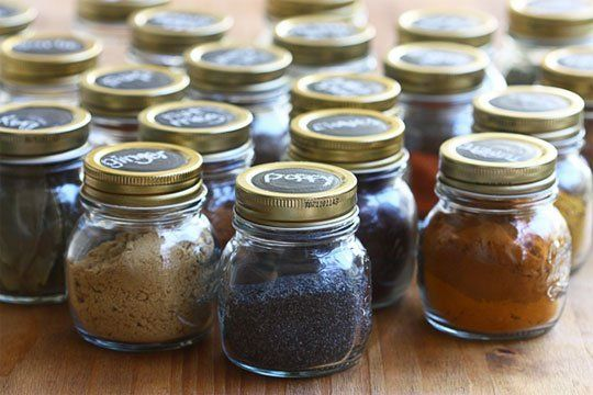 Recycle your jam jars for storing spices - great idea from The Kitchn. Mix and match works too!
