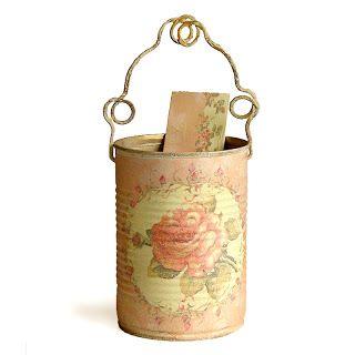 vintage decoupage tin