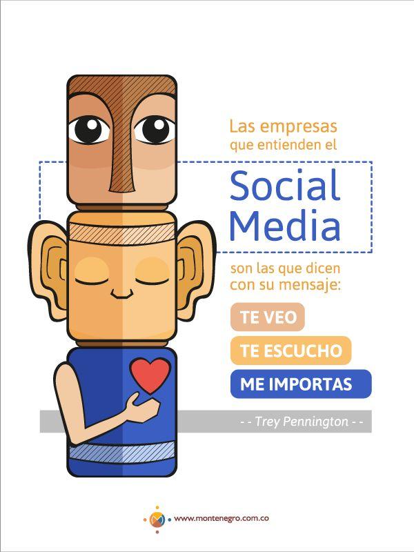 """""""Las empresas que entienden el Social Media son las que dicen con su mensaje: te veo, te escucho y me importas"""". --Trey Pennington--"""