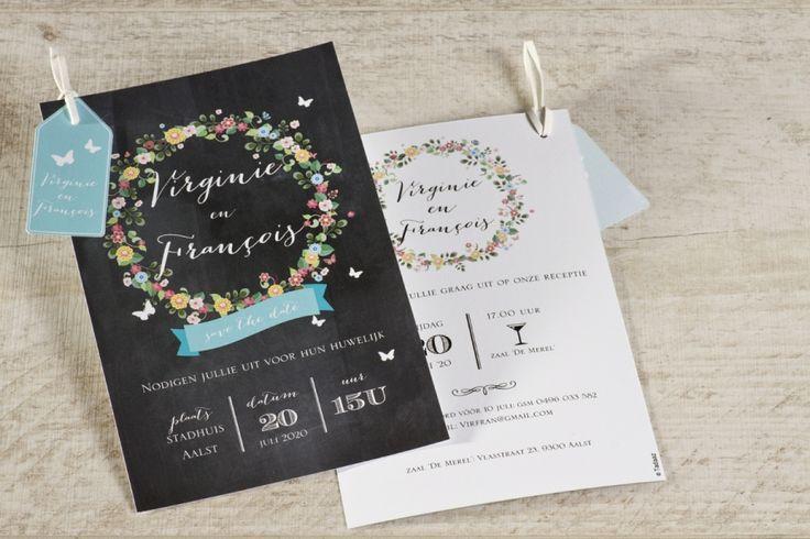 Romantische trouwkaart met bloemenkrans | Tadaaz #uitnodiging #invitatie #huwelijk #trouw #wedding #krijtbord #bloemen #retro #labeltje