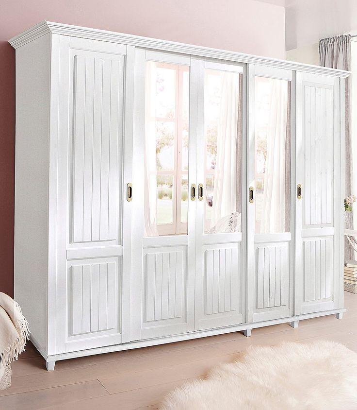 Artikeldetails:  Kleiderschrank im Landhaus-Stil, Mit Schiebtüren, Kleiderstange aus Holz, in 4 Größen, Inneneinteilung 2-türig, Breite 110 cm: Mit 2 Spiegeltüren. Hinter den Türen ein Ablageboden und eine Kleiderstange, Inneneinteilung 3-türig, Breite 156 cm: Mittig 1 Spiegeltür. Links hinter einer Tür 4 Einlegeböden, rechts hinter den Türen ein Ablageboden und eine Kleiderstange, Inneneinteil...