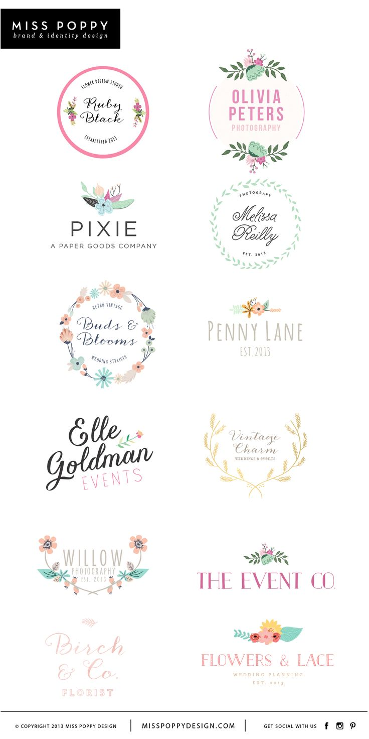 Miss Poppy Design- www.misspoppydesign.com Boutique Pre Made Logos / Graphic Design / Branding / Photographer Logo / Event / Florist / Floral