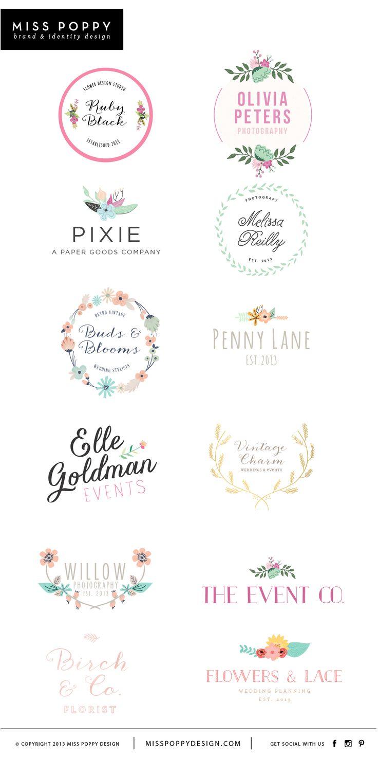 Miss Poppy Design- www.misspoppydesign.com Boutique Pre Made Logos / Graphic Design / Branding / Photographer Logo / Event / Florist / Floral
