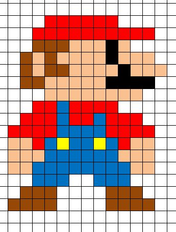 Mario Minecraft Pixel Art Template