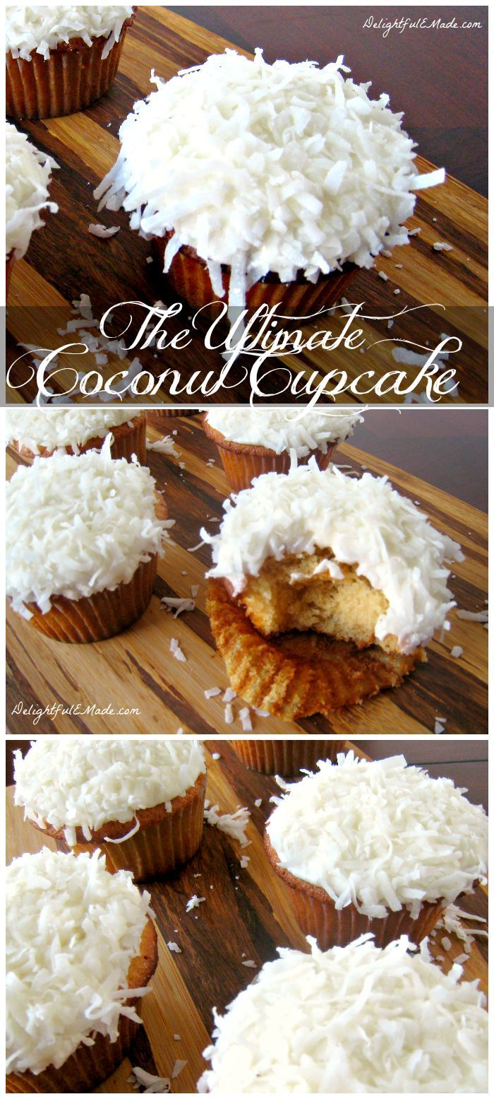 The Ultimate Coconut Cupcake. If you like coconut, you're gonna love these! Moist, delicious coconut cake is topped with a thick, rich coconut cream cheese frosting, topped with more coconut! #Coconutcupcake #Holidays #Delightfulemade #Dessertsforwinter