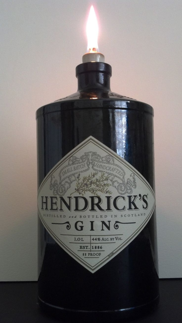 Hendricks Gin Re-purposed Oil Lamp...  Would be so cute for the table this fall. Saving my beautiful bottles...