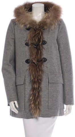 Maje Virgin Wool Fur-Trimmed Coat w/ Tags