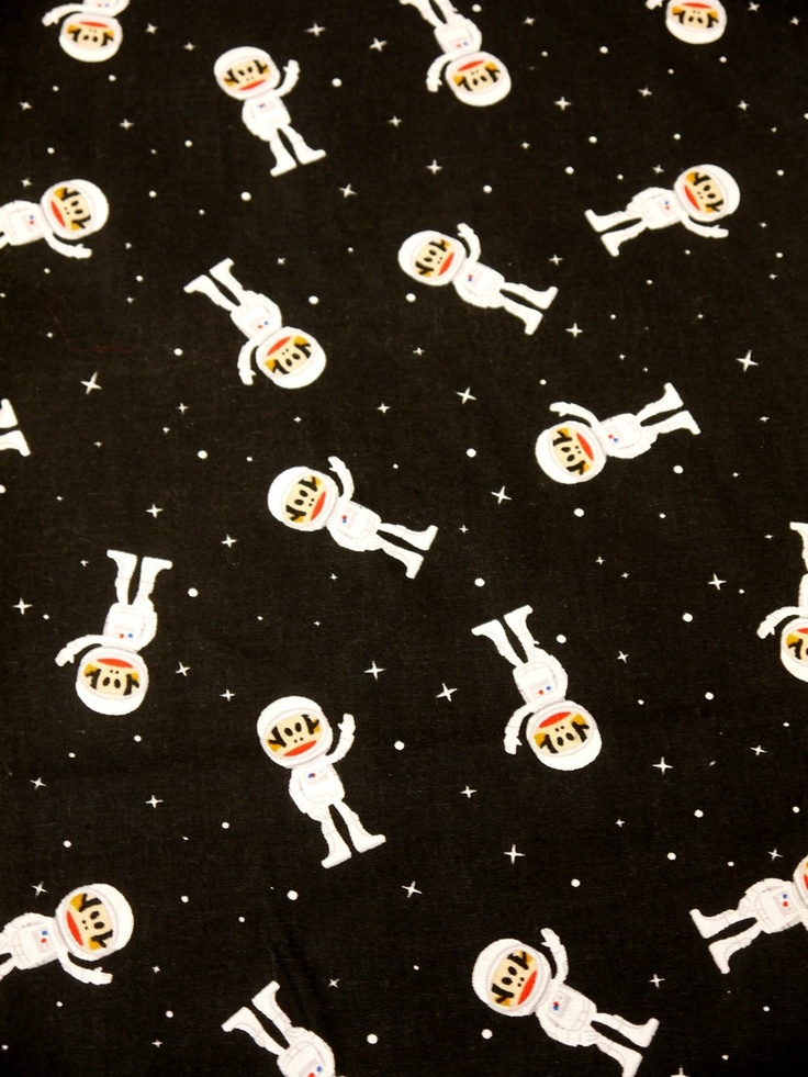 Black space monkey paul frank sunich astronaut with stars for Space cotton fabric