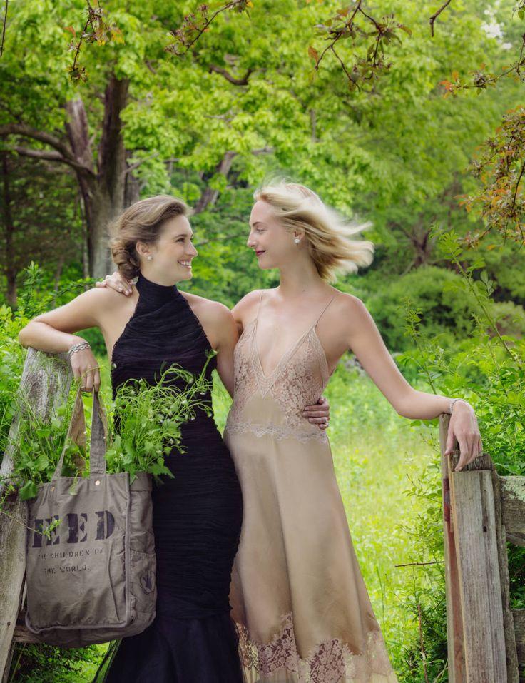 Lauren Bush Lauren in a Ralph Lauren Collection Gown and Claire Courtin-Clarins in Louis Vuitton.