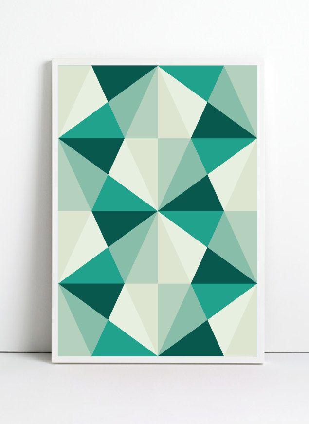 Poster, A3, Mid Century Art print, retro Print Poster, Geometric Art Print, Geometric poster, Abstract Art Print, Abstract Posters. $18.00, via Etsy.