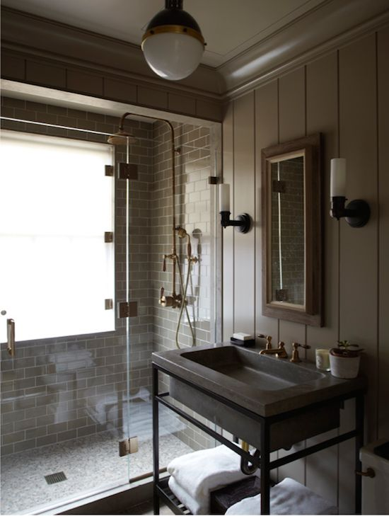 Masculine And Modern Industrial Bathroom In The West Village Nyc Via Gambrel Architects And