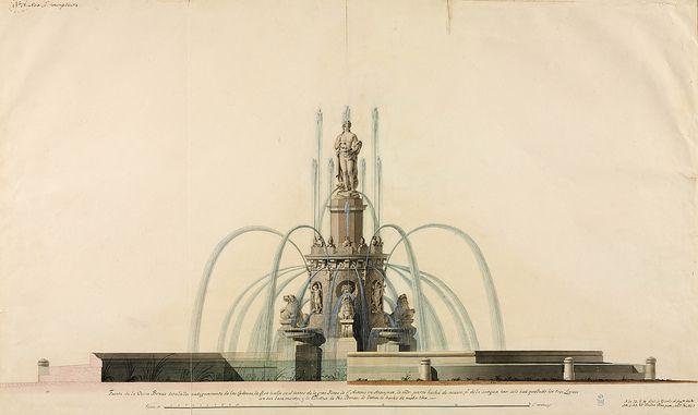 Spanish 18th & 19th century Architectural Sketches &c.: Alzado de la Fuente de Venus Elevation of the Fountain of Venus